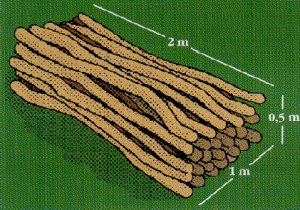En skovrummeter brænde i stablet lange stykker