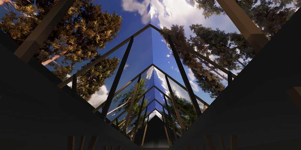 Udstillingshallens 800 m2 store loft er omdannet til Danmarks største skovhimmel. Under den kan publikum opleve en rejse i skovens Danmarkshistorie.